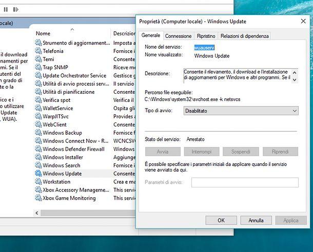Disattivazione del servizio Windows Update windows 10